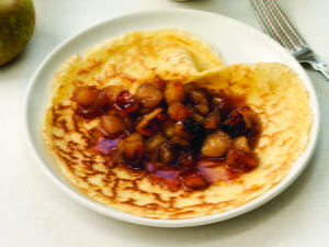 Crepes Filled with Caramelized Apples and Served with Maple Crème Fraîche