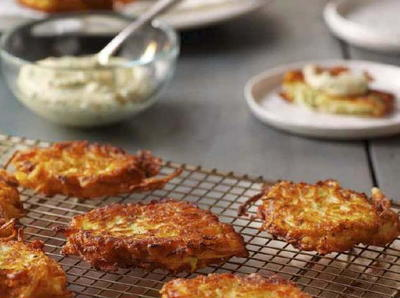 Summer Squash Fritters with Garlic Dipping Sauce