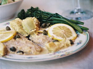 Veal Francese with Artichoke Hearts