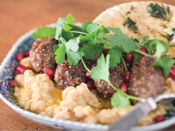 Lamb and Quinoa Koftas on Soft Chickpeas with Toasted Pita Bread