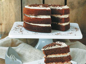 Chocolate Zucchini Cake with Vanilla Spiced Cream