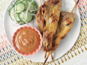 Pork Satay with Peanut Sauce and Spicy Pickles