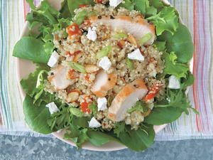 Quinoa Salad with Roasted Chicken, Apricots, and Goat Cheese