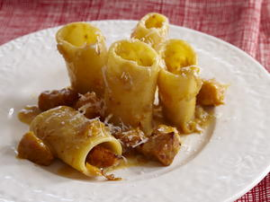 Pumpkin Carbonara with Paccheri
