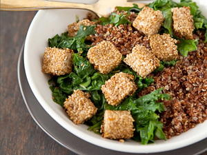 Hearty Greens and Grains with Sesame Tofu Squares