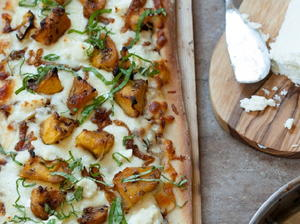 Roasted Acorn Squash, Caramelized Onion, and Goat Cheese Pizza