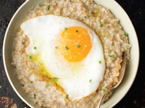 Savory Oatmeal with a Basted Egg