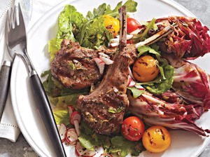 Warm Salad with Lamb Chops and Mediterranean Dressing