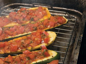 Smoked, Grilled Squash Topped with Tomato Parmesan