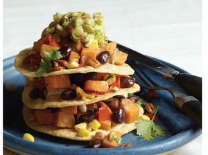 Vegan Black Bean and Pecan Tostada Stacks
