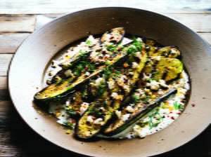 Grilled Zucchini with Yogurt Sauce, Feta, Lemon and Dill