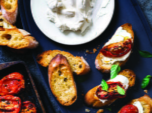 Roasted Tomato Bruschetta with Yogurt Cheese
