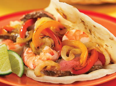 Grilled Fajita Steak and Shrimp Tacos