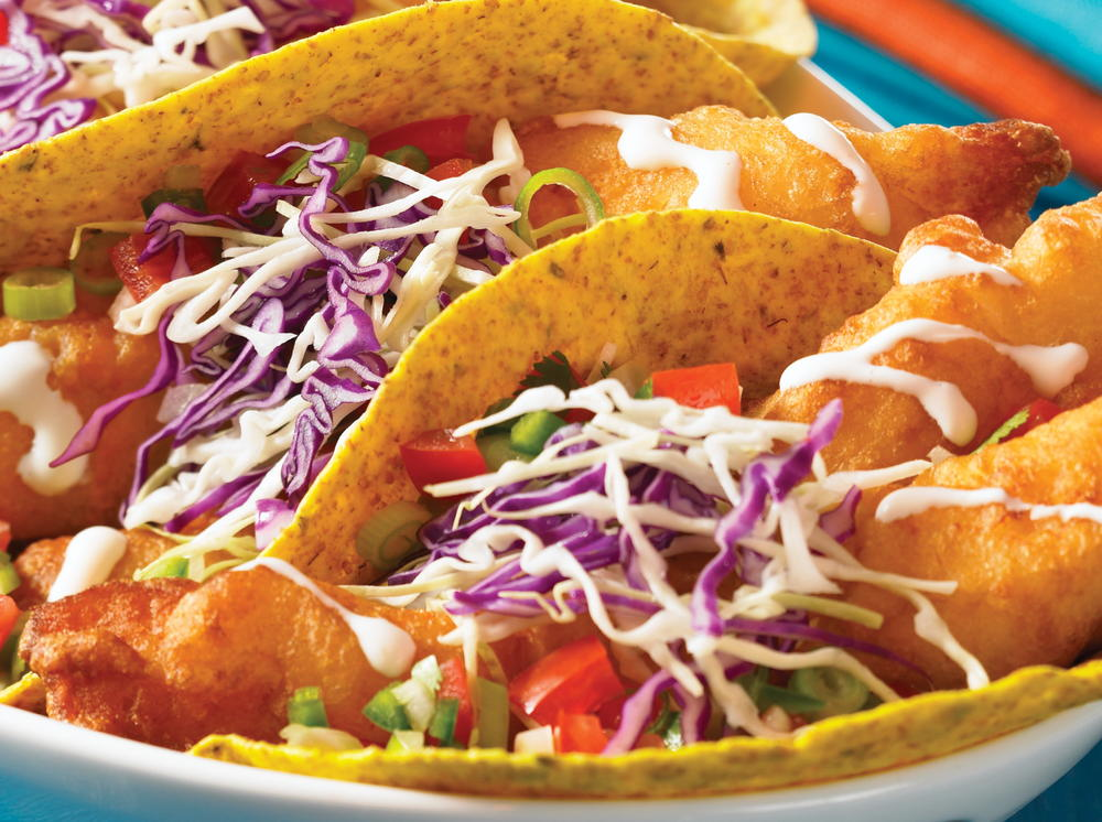Fresh baja fish tacos with mexican white sauce for Fresh fish recipes
