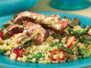 Skirt Steak with Horseradish Tomato Quinoa Salad