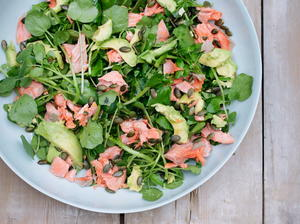 Salmon, Avocado, Watercress Salad with Pumpkin Seeds