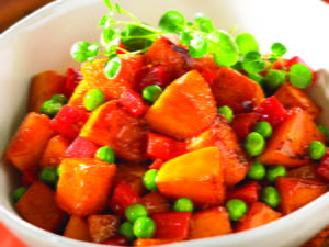 Butternut Stir-Fry with Peppers and Peas