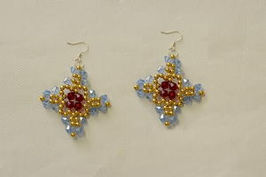 Gorgeous Glass Beaded Cross Earrings