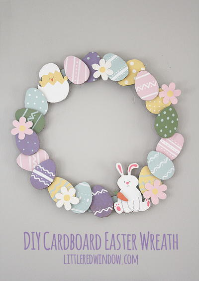 Easter Cardboard DIY Wreath_2