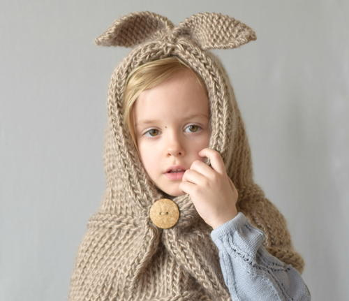 Hooded Bunny Knit Cowl