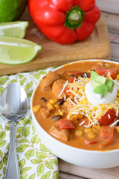 One-Pot Baja Chicken Enchilada Soup