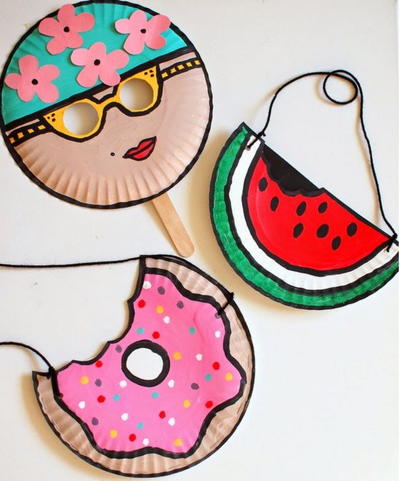 Vintage Swimmer Watermelon and Doughnut Paper Plate Crafts