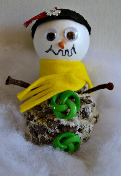 Cute Little Pinecone Snowman Craft