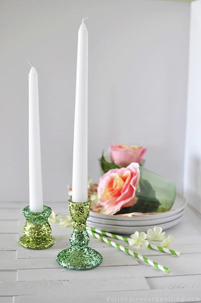 DIY Two-Toned Green Glitter Candle Holder