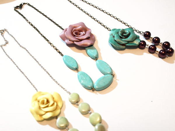 Vintage Inspired Clay Rose Necklace