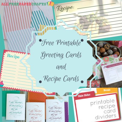 15 Free Printable Greeting Cards and Recipe Cards
