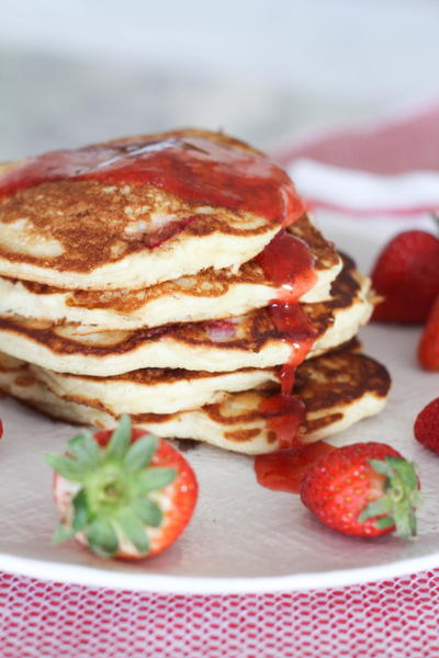 Grandmas Buttermilk Pancakes with Strawberry Syrup