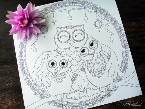 Owl Family Printable Coloring Page
