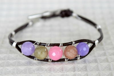 Adorable Leather Beaded Bracelet