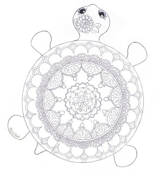 Mandala turtle coloring page for Peacock crafts for adults