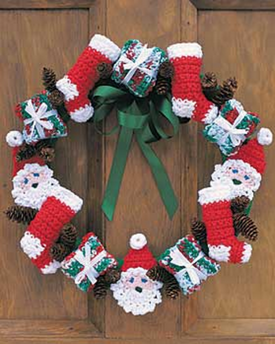 Santa And Stockings Crochet Christmas Wreath