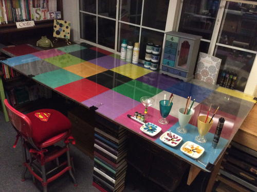 Color Block Craft Table and Accessories