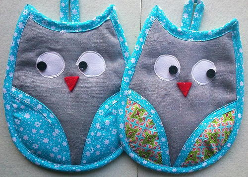 "Owl-Hotpads ""Henry and Hobbes"""