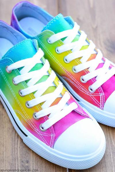 c7c87a9b0e25 Rainbow Tie Dye Sneakers Allkidscrafts