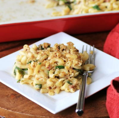Spinach Prosciutto Macaroni and Cheese