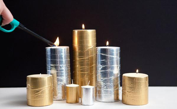 Metallic Duct Tape DIY Candles
