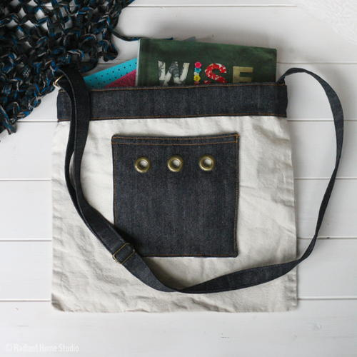 Denim Tote Bag with Grommets