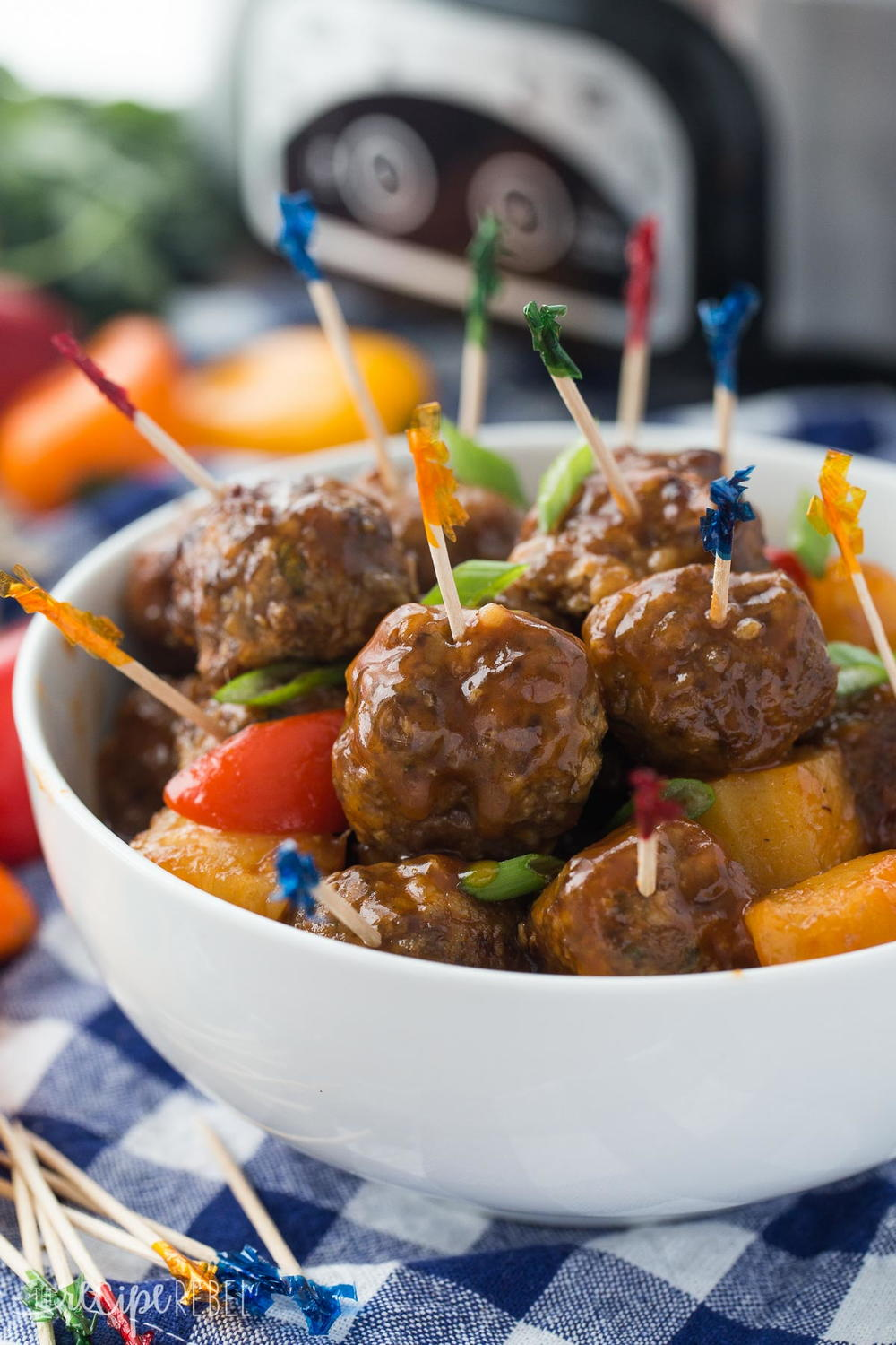 pineapple brown sugar meatballs in slow cooker. Black Bedroom Furniture Sets. Home Design Ideas