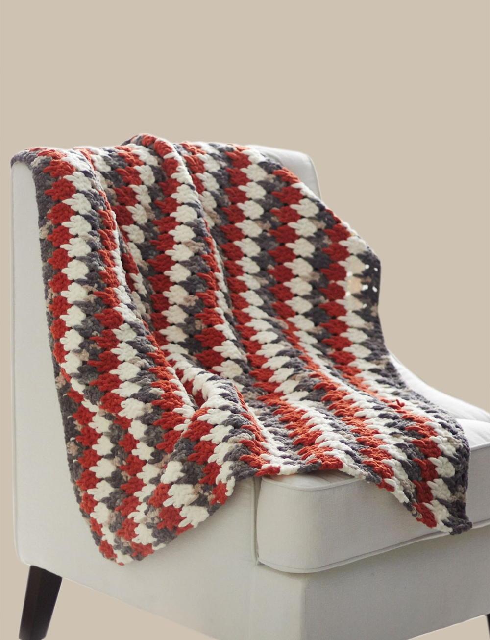 Crochet Afghan Patterns Bulky Yarn : Larksfoot Crochet Blanket AllFreeCrochet.com