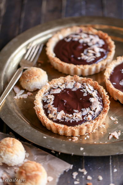 Chocolate Ganache Tarts with Coconut Macaroon Crust