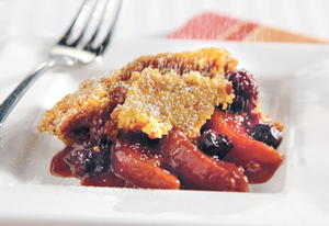 Peach and Berry Cake Mix Cobbler