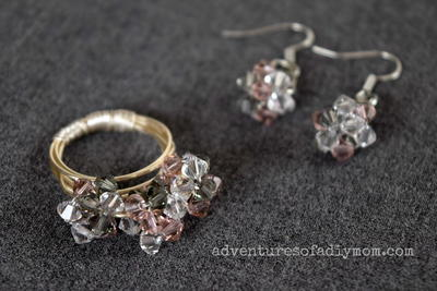 Bead Cluster Ring and Earrings