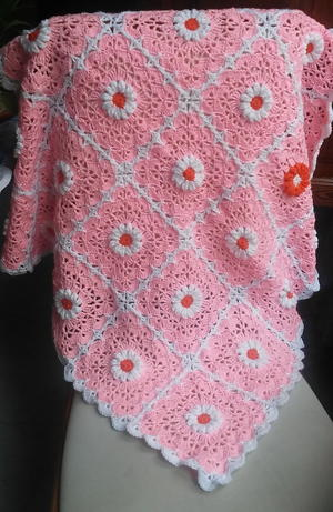 Pink Daisy Crocheted Baby Blanket