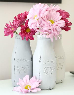 Milk Bottle DIY Vases