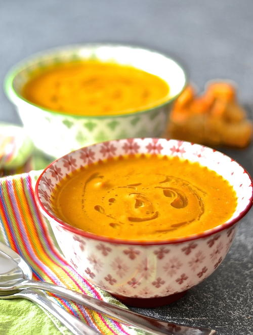 Creamy Coconut Carrot  Ginger Soup