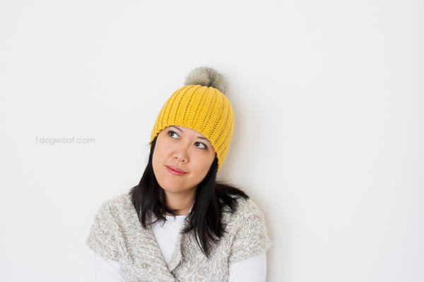 Lolly-Poms Ribbed Crochet Beanie